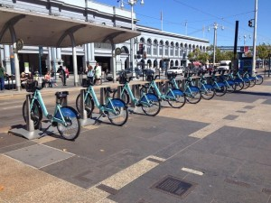 Bay Area Bike Share bikes at the Ferry Building in San Francisco.