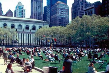 A summer day in NYC's Bryant Park, a stand out example of placemaking.