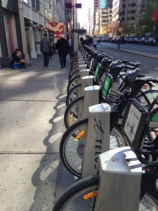 A row of Bixis stands waiting for lunchtime riders in Montreal.