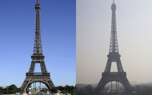 The Eiffel Tower, before and after the Paris smog. Photo via StrangeSounds.org